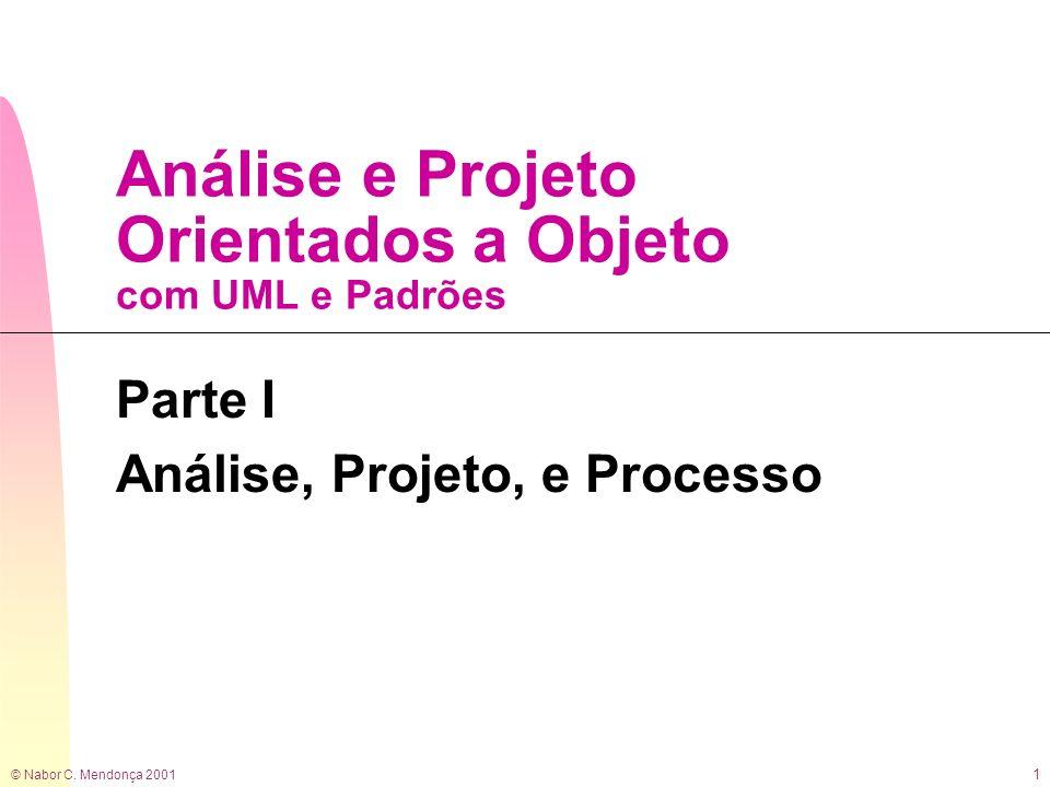 © Nabor C. Mendonça 2001 1 Análise e Projeto Orientados a Objeto com UML e Padrões Parte I Análise, Projeto, e Processo