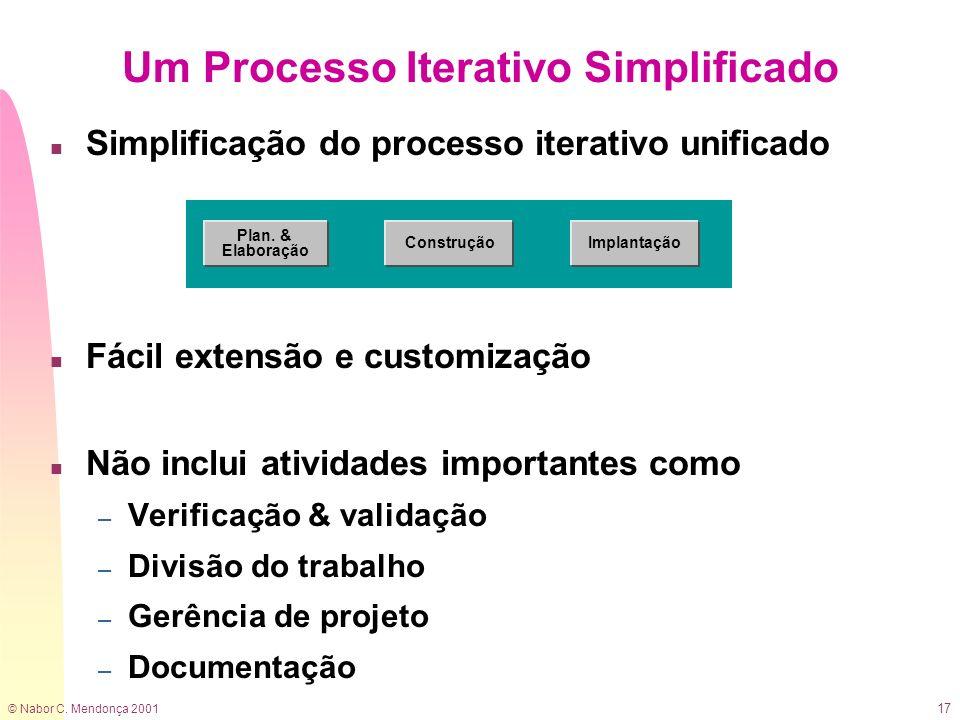 © Nabor C. Mendonça 2001 17 n Simplificação do processo iterativo unificado n Fácil extensão e customização n Não inclui atividades importantes como –