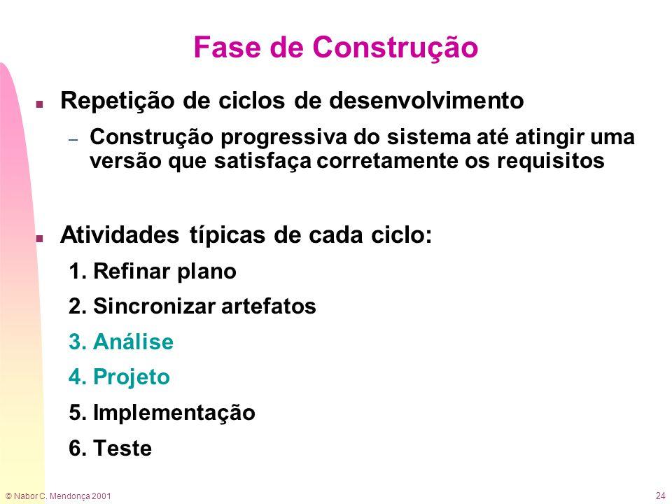 © Nabor C. Mendonça 2001 24 Fase de Construção n Repetição de ciclos de desenvolvimento – Construção progressiva do sistema até atingir uma versão que