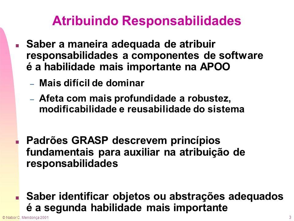 © Nabor C. Mendonça 2001 3 Atribuindo Responsabilidades n Saber a maneira adequada de atribuir responsabilidades a componentes de software é a habilid