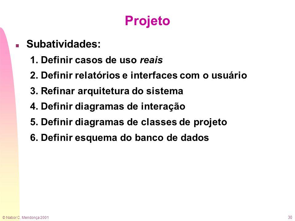 © Nabor C. Mendonça 2001 30 Projeto n Subatividades: 1. Definir casos de uso reais 2. Definir relatórios e interfaces com o usuário 3. Refinar arquite
