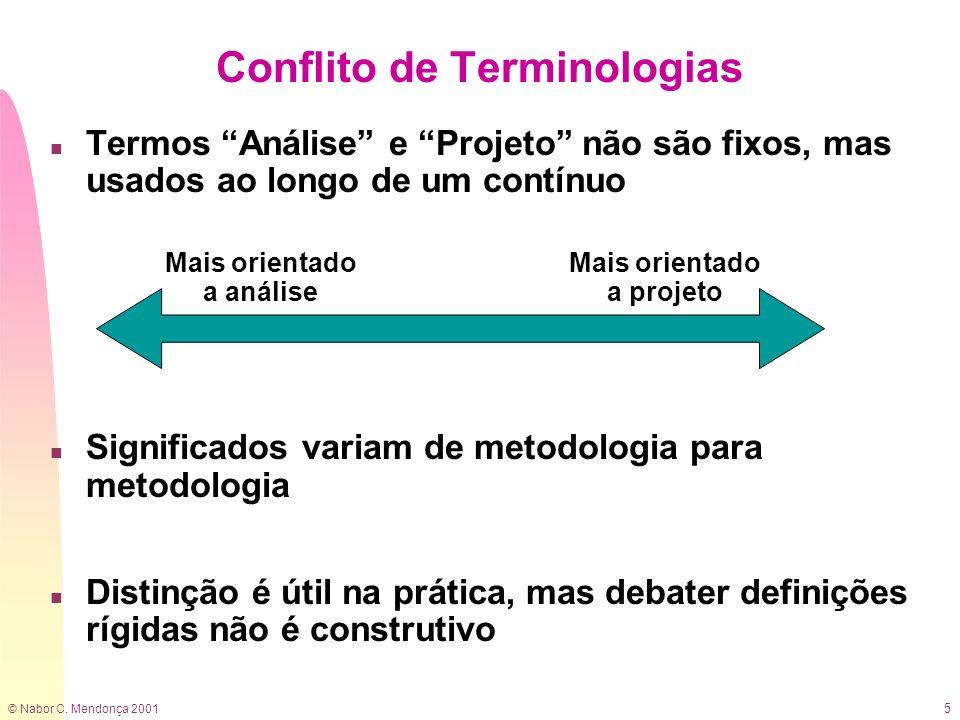 © Nabor C. Mendonça 2001 5 n Termos Análise e Projeto não são fixos, mas usados ao longo de um contínuo n Significados variam de metodologia para meto