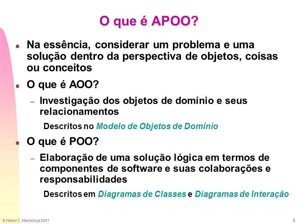 © Nabor C. Mendonça 2001 6 O que é APOO? n Na essência, considerar um problema e uma solução dentro da perspectiva de objetos, coisas ou conceitos n O