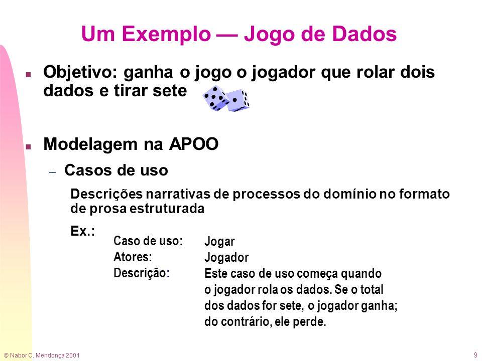 © Nabor C. Mendonça 2001 9 n Objetivo: ganha o jogo o jogador que rolar dois dados e tirar sete n Modelagem na APOO – Casos de uso Descrições narrativ