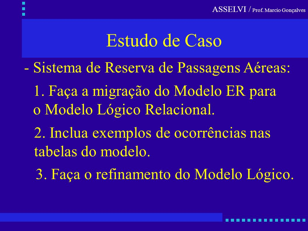 ASSELVI / Prof. Marcio Gonçalves Estudo de Caso - Sistema de Reserva de Passagens Aéreas: 1. Faça a migração do Modelo ER para o Modelo Lógico Relacio