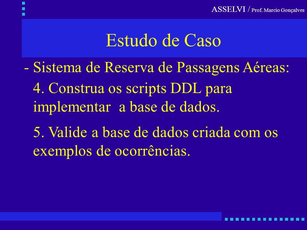 ASSELVI / Prof. Marcio Gonçalves Estudo de Caso - Sistema de Reserva de Passagens Aéreas: 5. Valide a base de dados criada com os exemplos de ocorrênc