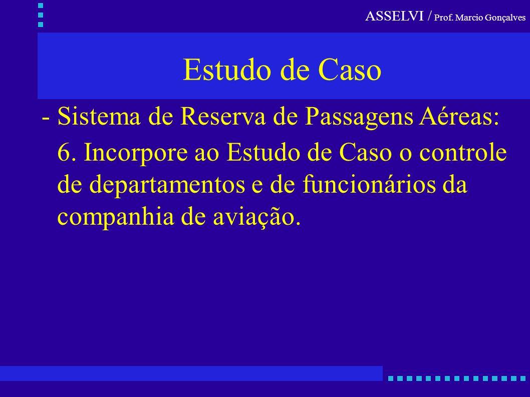 ASSELVI / Prof. Marcio Gonçalves Estudo de Caso - Sistema de Reserva de Passagens Aéreas: 6. Incorpore ao Estudo de Caso o controle de departamentos e
