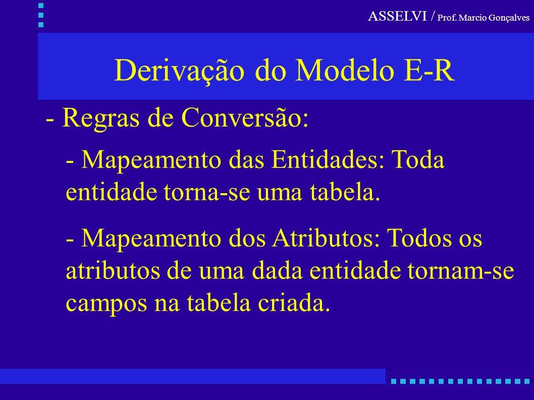 ASSELVI / Prof. Marcio Gonçalves Derivação do Modelo E-R - Regras de Conversão: - Mapeamento das Entidades: Toda entidade torna-se uma tabela. - Mapea