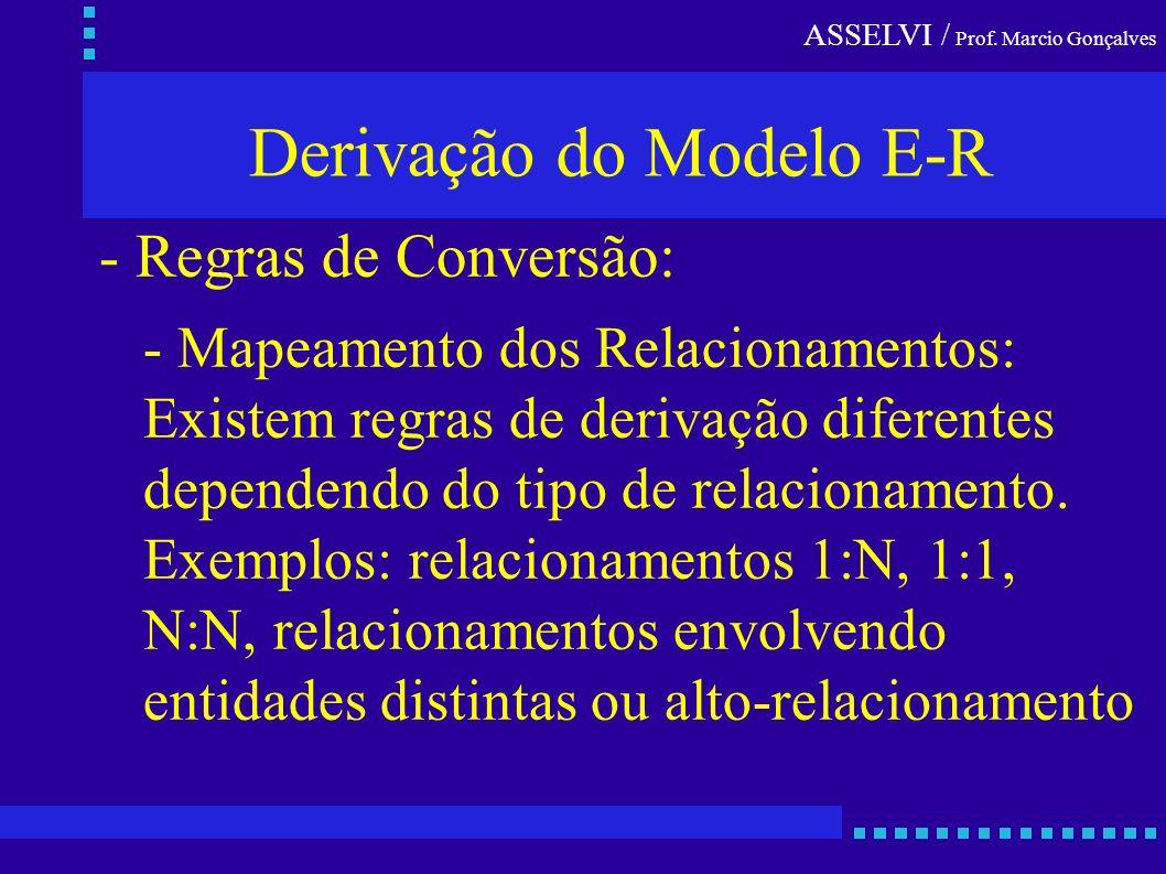 ASSELVI / Prof. Marcio Gonçalves Derivação do Modelo E-R - Regras de Conversão: - Mapeamento dos Relacionamentos: Existem regras de derivação diferent