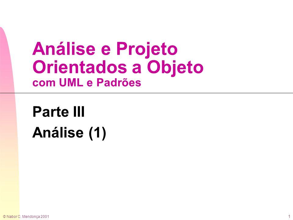 © Nabor C. Mendonça 2001 1 Análise e Projeto Orientados a Objeto com UML e Padrões Parte III Análise (1)