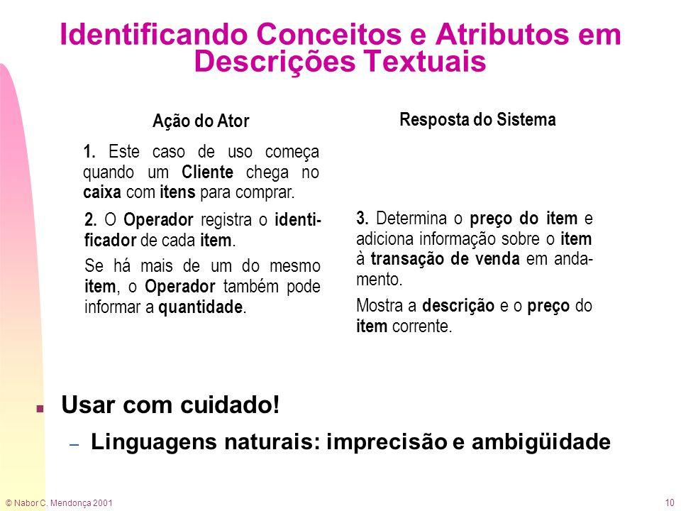 © Nabor C. Mendonça 2001 10 Identificando Conceitos e Atributos em Descrições Textuais n Usar com cuidado! – Linguagens naturais: imprecisão e ambigüi