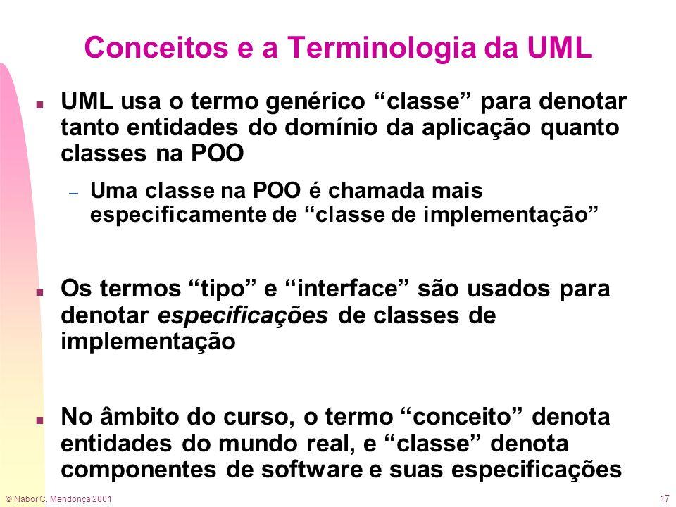 © Nabor C. Mendonça 2001 17 Conceitos e a Terminologia da UML n UML usa o termo genérico classe para denotar tanto entidades do domínio da aplicação q