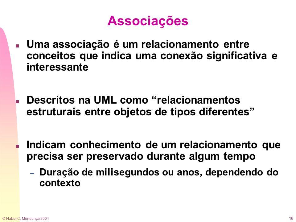 © Nabor C. Mendonça 2001 18 Associações n Uma associação é um relacionamento entre conceitos que indica uma conexão significativa e interessante n Des