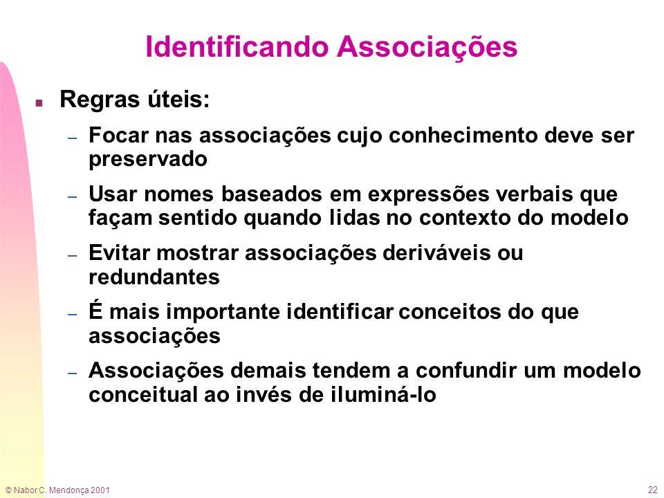 © Nabor C. Mendonça 2001 22 Identificando Associações n Regras úteis: – Focar nas associações cujo conhecimento deve ser preservado – Usar nomes basea