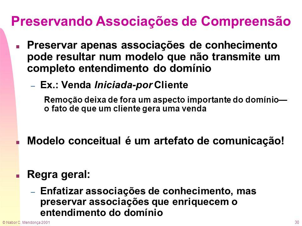 © Nabor C. Mendonça 2001 30 Preservando Associações de Compreensão n Preservar apenas associações de conhecimento pode resultar num modelo que não tra