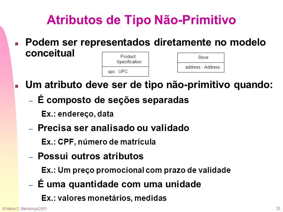© Nabor C. Mendonça 2001 33 n Podem ser representados diretamente no modelo conceitual n Um atributo deve ser de tipo não-primitivo quando: – É compos