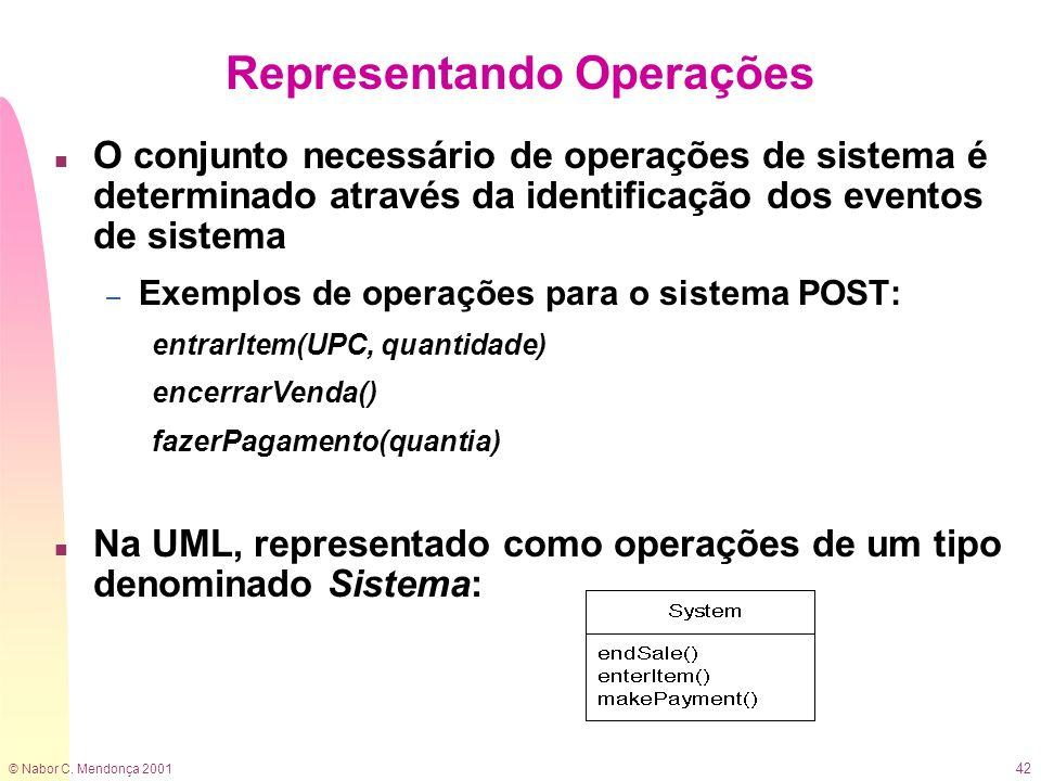 © Nabor C. Mendonça 2001 42 n O conjunto necessário de operações de sistema é determinado através da identificação dos eventos de sistema – Exemplos d