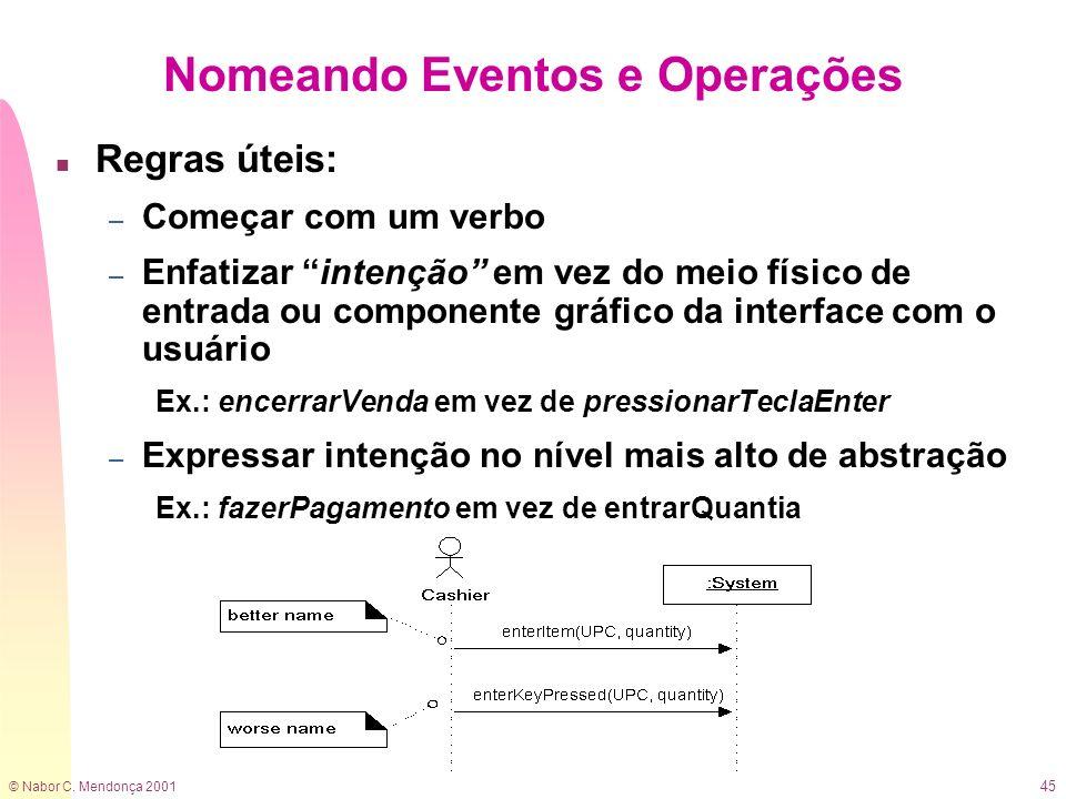 © Nabor C. Mendonça 2001 45 Nomeando Eventos e Operações n Regras úteis: – Começar com um verbo – Enfatizar intenção em vez do meio físico de entrada