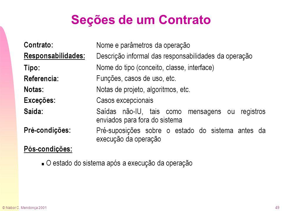 © Nabor C. Mendonça 2001 49 Seções de um Contrato Contrato: Responsabilidades: Nome e parâmetros da operação Descrição informal das responsabilidades