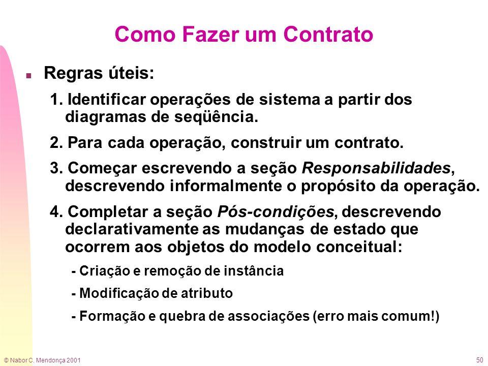 © Nabor C. Mendonça 2001 50 Como Fazer um Contrato n Regras úteis: 1. Identificar operações de sistema a partir dos diagramas de seqüência. 2. Para ca