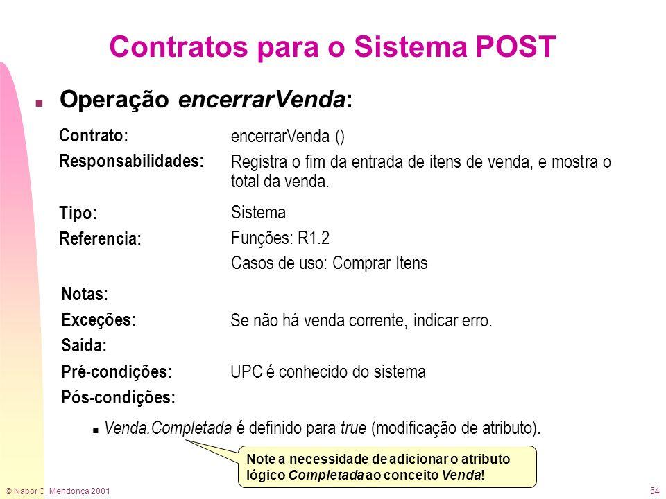 © Nabor C. Mendonça 2001 54 Contratos para o Sistema POST n Operação encerrarVenda: Contrato: Responsabilidades: encerrarVenda () Registra o fim da en