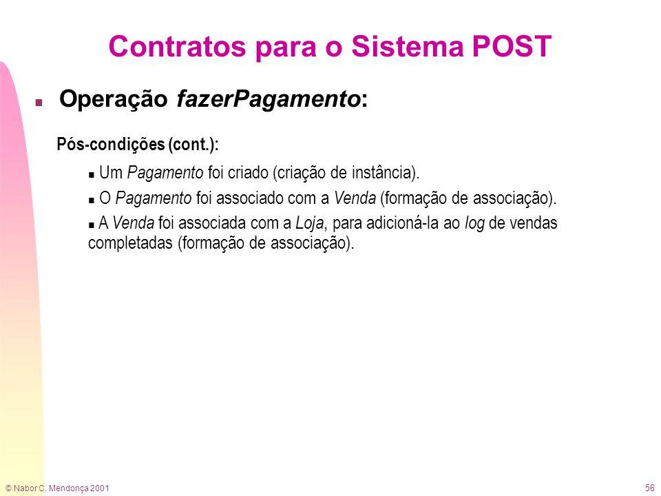 © Nabor C. Mendonça 2001 56 Contratos para o Sistema POST n Operação fazerPagamento: Pós-condições (cont.): n Um Pagamento foi criado (criação de inst