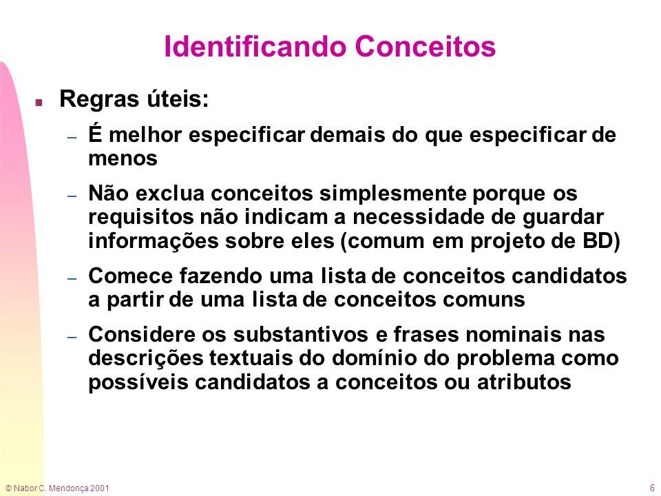 © Nabor C. Mendonça 2001 6 Identificando Conceitos n Regras úteis: – É melhor especificar demais do que especificar de menos – Não exclua conceitos si