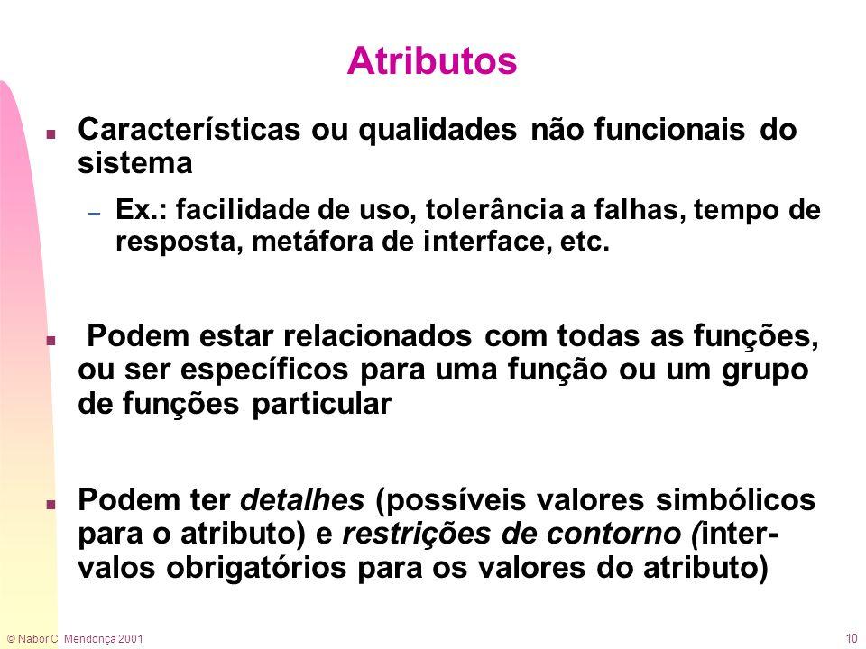 © Nabor C. Mendonça 2001 10 Atributos n Características ou qualidades não funcionais do sistema – Ex.: facilidade de uso, tolerância a falhas, tempo d