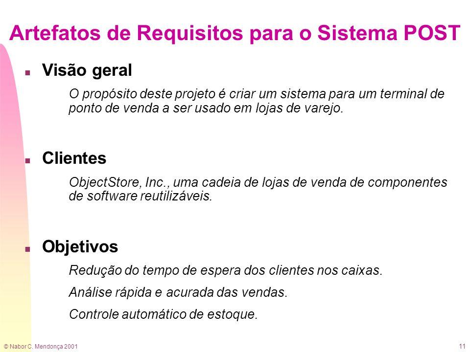 © Nabor C. Mendonça 2001 11 Artefatos de Requisitos para o Sistema POST n Visão geral O propósito deste projeto é criar um sistema para um terminal de