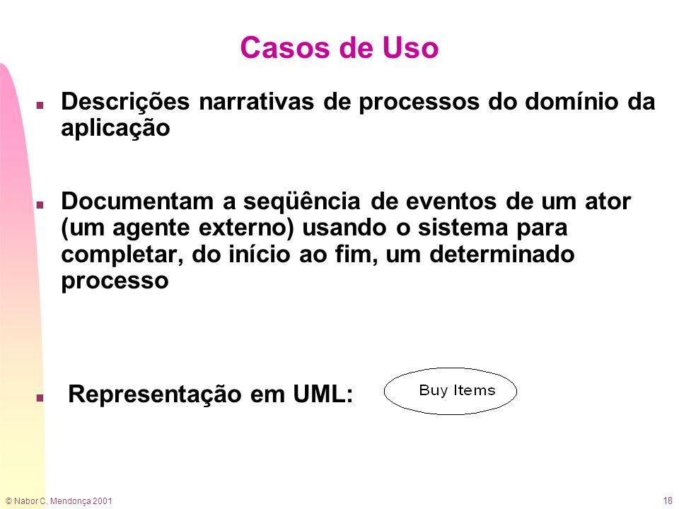 © Nabor C. Mendonça 2001 18 Casos de Uso n Descrições narrativas de processos do domínio da aplicação n Documentam a seqüência de eventos de um ator (