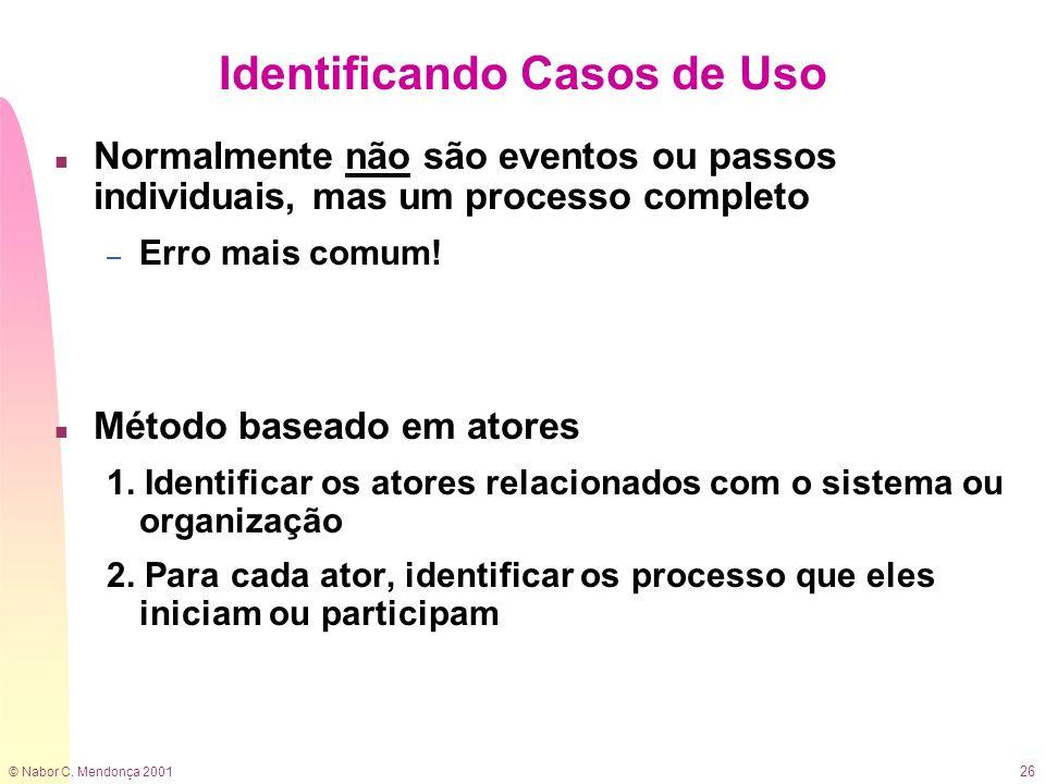 © Nabor C. Mendonça 2001 26 Identificando Casos de Uso n Normalmente não são eventos ou passos individuais, mas um processo completo – Erro mais comum