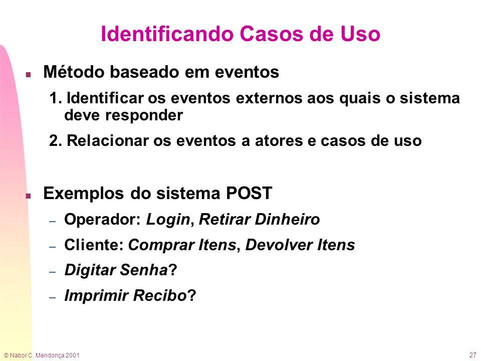 © Nabor C. Mendonça 2001 27 Identificando Casos de Uso n Método baseado em eventos 1. Identificar os eventos externos aos quais o sistema deve respond