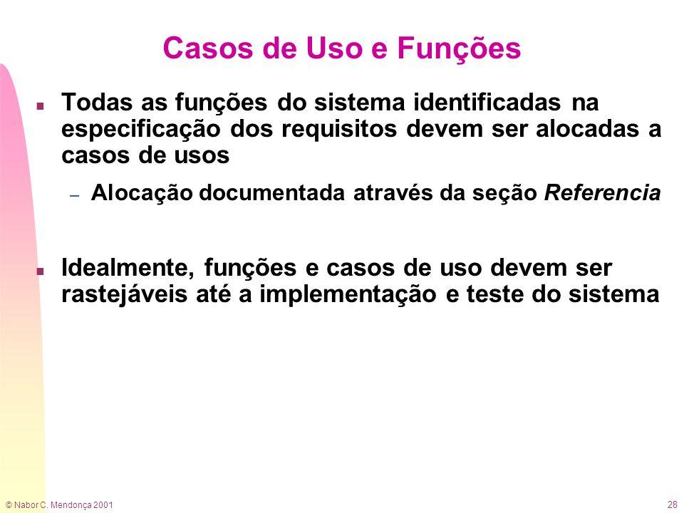 © Nabor C. Mendonça 2001 28 Casos de Uso e Funções n Todas as funções do sistema identificadas na especificação dos requisitos devem ser alocadas a ca