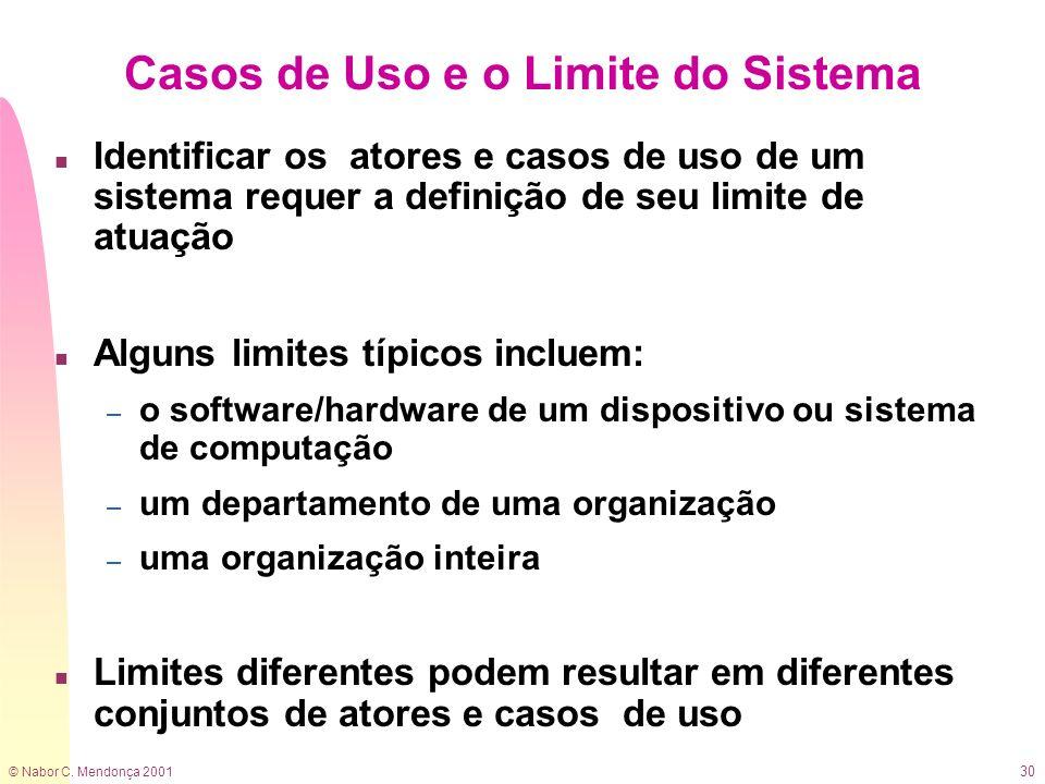 © Nabor C. Mendonça 2001 30 Casos de Uso e o Limite do Sistema n Identificar os atores e casos de uso de um sistema requer a definição de seu limite d