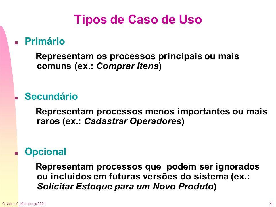 © Nabor C. Mendonça 2001 32 Tipos de Caso de Uso n Primário Representam os processos principais ou mais comuns (ex.: Comprar Itens) n Secundário Repre