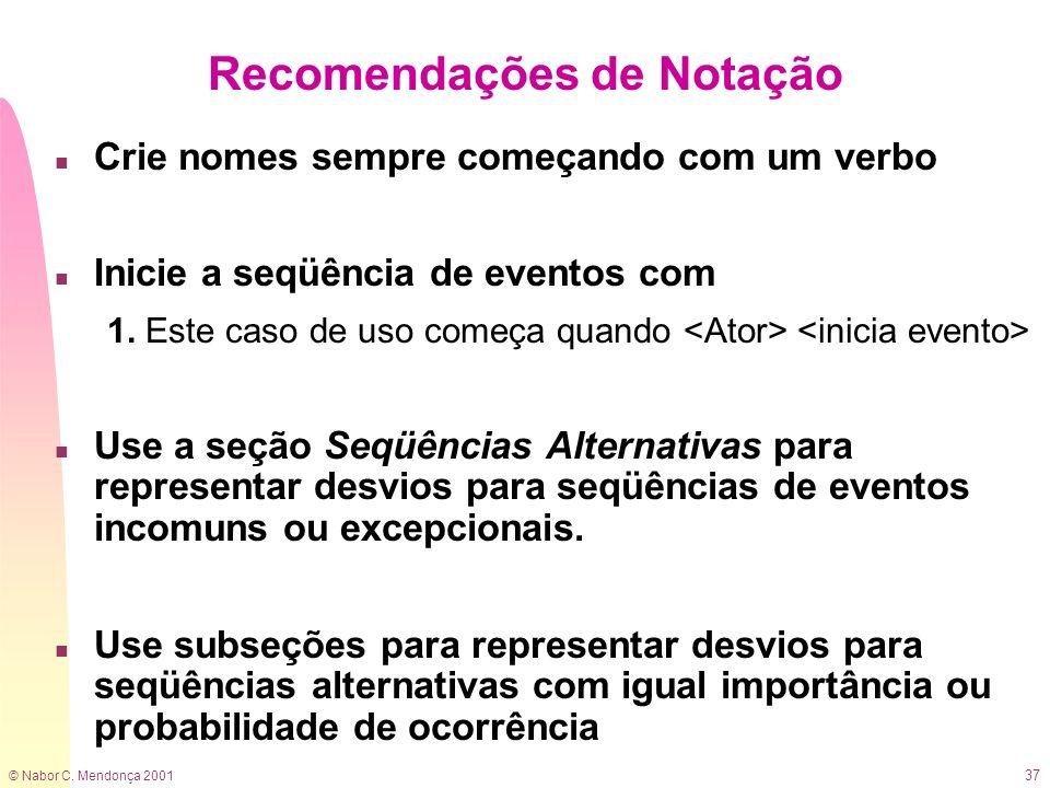 © Nabor C. Mendonça 2001 37 Recomendações de Notação n Crie nomes sempre começando com um verbo n Inicie a seqüência de eventos com 1. Este caso de us