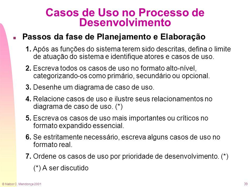 © Nabor C. Mendonça 2001 39 Casos de Uso no Processo de Desenvolvimento n Passos da fase de Planejamento e Elaboração 1. Após as funções do sistema te