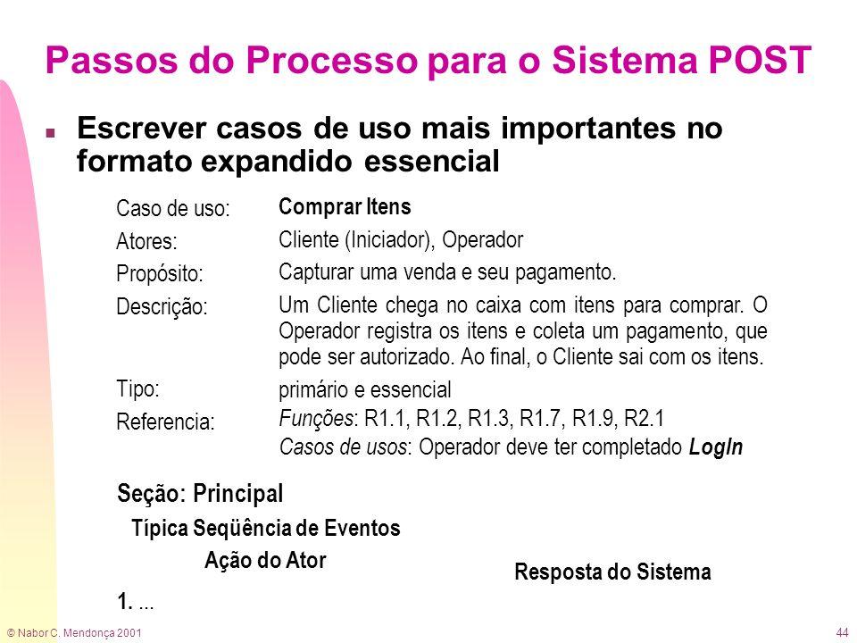© Nabor C. Mendonça 2001 44 Passos do Processo para o Sistema POST n Escrever casos de uso mais importantes no formato expandido essencial Caso de uso