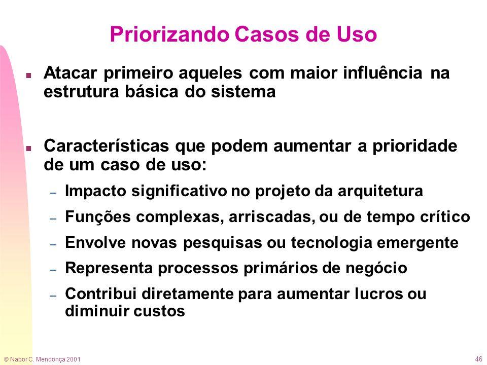© Nabor C. Mendonça 2001 46 Priorizando Casos de Uso n Atacar primeiro aqueles com maior influência na estrutura básica do sistema n Características q