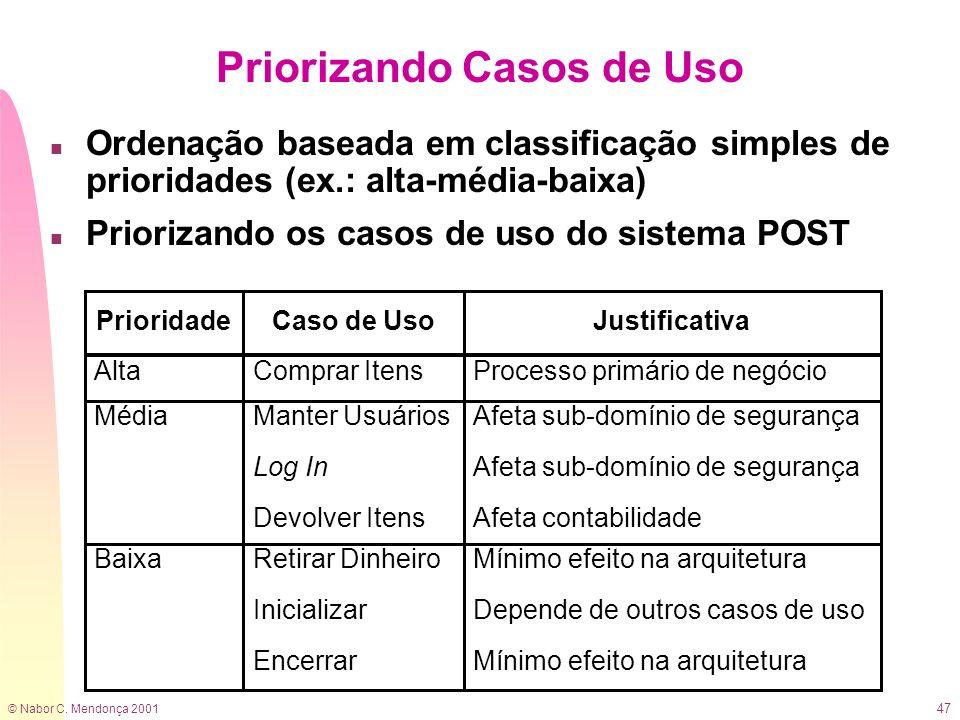 © Nabor C. Mendonça 2001 47 Priorizando Casos de Uso n Ordenação baseada em classificação simples de prioridades (ex.: alta-média-baixa) n Priorizando