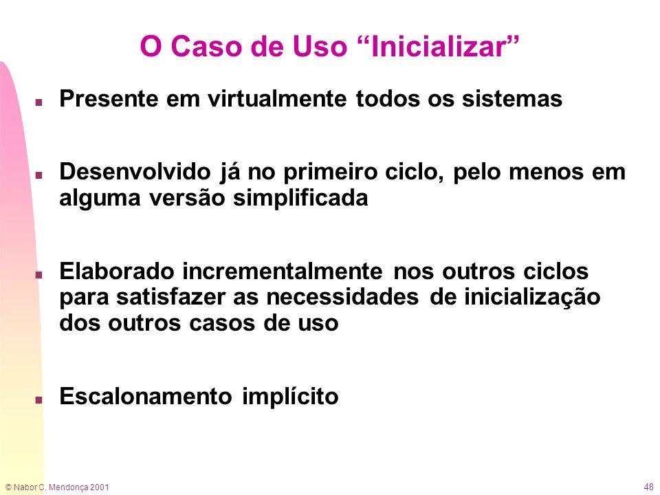 © Nabor C. Mendonça 2001 48 O Caso de Uso Inicializar n Presente em virtualmente todos os sistemas n Desenvolvido já no primeiro ciclo, pelo menos em