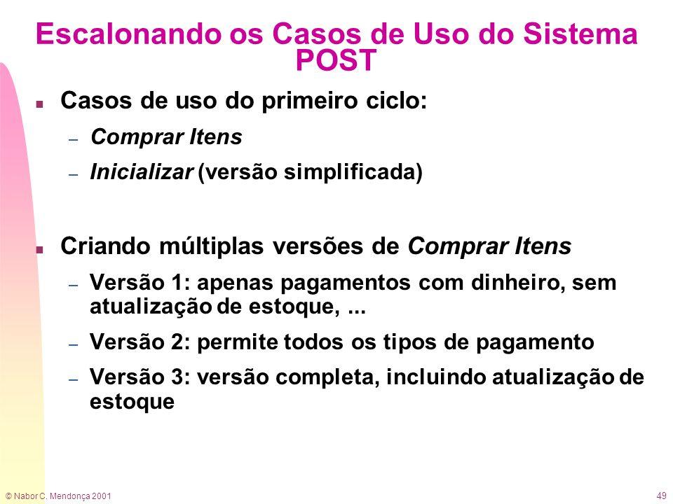 © Nabor C. Mendonça 2001 49 Escalonando os Casos de Uso do Sistema POST n Casos de uso do primeiro ciclo: – Comprar Itens – Inicializar (versão simpli