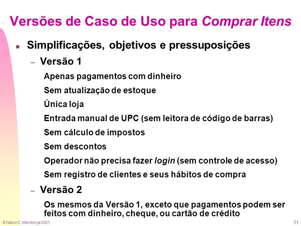 © Nabor C. Mendonça 2001 51 Versões de Caso de Uso para Comprar Itens n Simplificações, objetivos e pressuposições – Versão 1 Apenas pagamentos com di