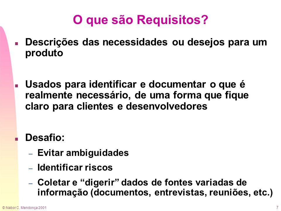 © Nabor C. Mendonça 2001 7 O que são Requisitos? n Descrições das necessidades ou desejos para um produto n Usados para identificar e documentar o que