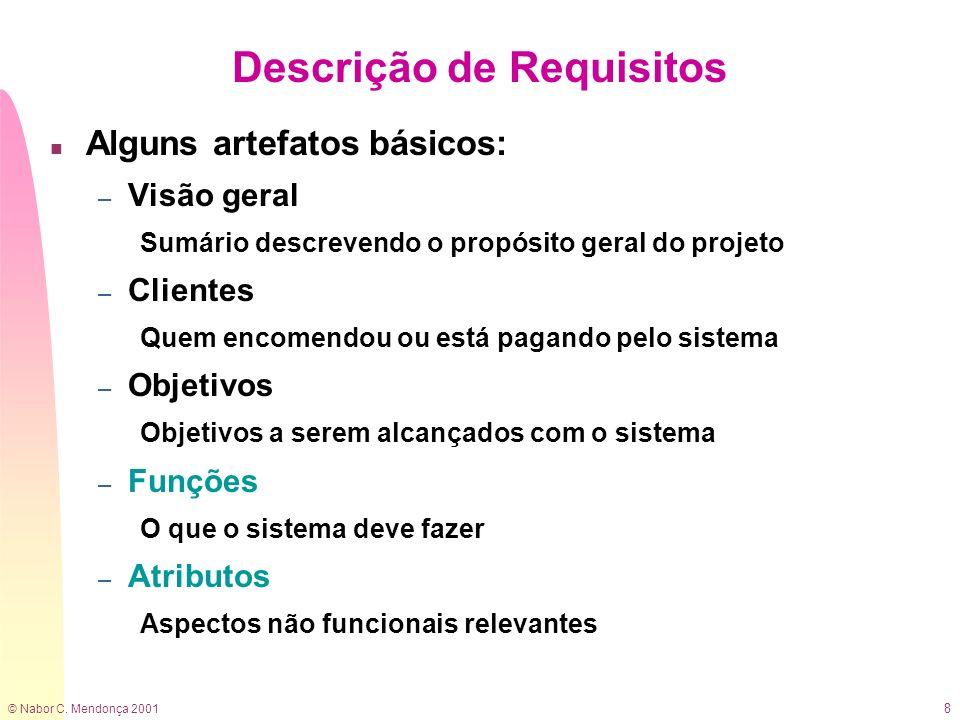 © Nabor C. Mendonça 2001 8 Descrição de Requisitos n Alguns artefatos básicos: – Visão geral Sumário descrevendo o propósito geral do projeto – Client