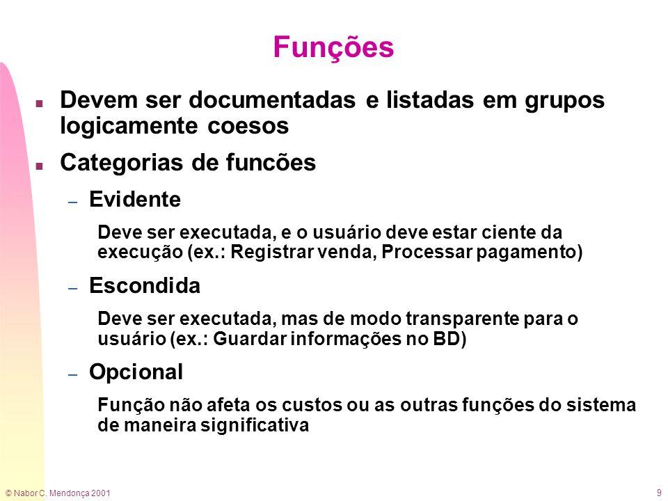 © Nabor C. Mendonça 2001 9 Funções n Devem ser documentadas e listadas em grupos logicamente coesos n Categorias de funcões – Evidente Deve ser execut