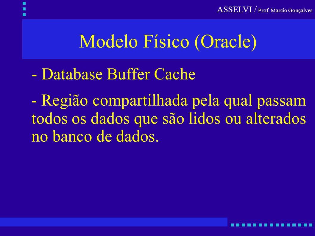 ASSELVI / Prof. Marcio Gonçalves Modelo Físico (Oracle) - Região compartilhada pela qual passam todos os dados que são lidos ou alterados no banco de