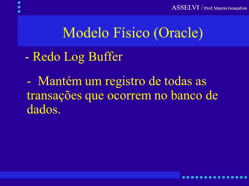 ASSELVI / Prof. Marcio Gonçalves Modelo Físico (Oracle) - Mantém um registro de todas as transações que ocorrem no banco de dados. - Redo Log Buffer