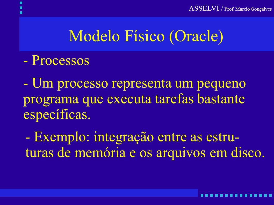 ASSELVI / Prof. Marcio Gonçalves Modelo Físico (Oracle) - Processos - Um processo representa um pequeno programa que executa tarefas bastante específi