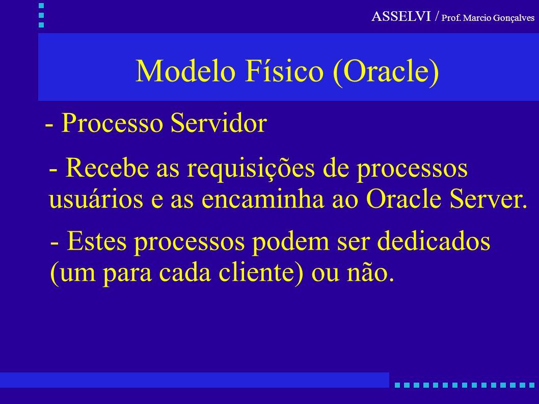 ASSELVI / Prof. Marcio Gonçalves Modelo Físico (Oracle) - Processo Servidor - Recebe as requisições de processos usuários e as encaminha ao Oracle Ser